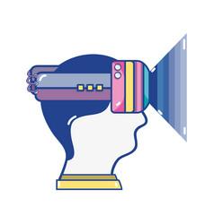 head boy with 3d eyeglasses virtual experience vector image