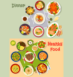 healthy festive dinner icon set for menu design vector image