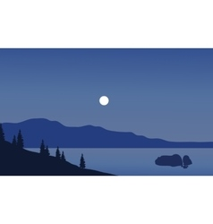 Landscape of beach at night vector image vector image