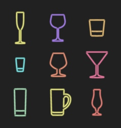 neon light alcohol glasses icons vector image