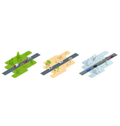 seth consisting of three isometric pictures road vector image