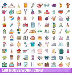 100 house work icons set cartoon style vector image vector image