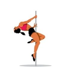 Beautiful dancer girl on the pole vector
