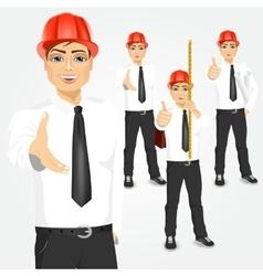 construction engineer worker builder set vector image