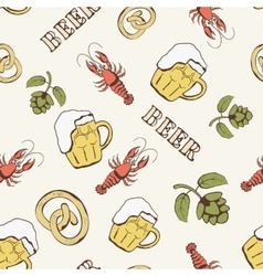 Glass of beer hop and crayfish seamless pattern vector image vector image
