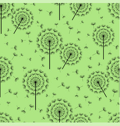 green seamless pattern with black dandelion fluff vector image vector image