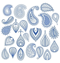 Oriental leaf doodles vector image vector image