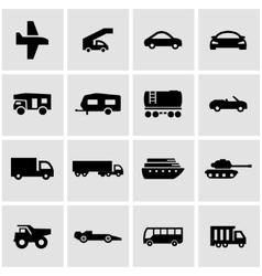 black vehicles icon set vector image vector image