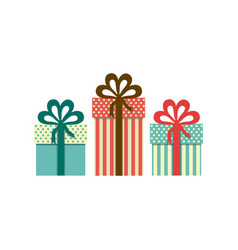 colorful set of gift boxes with decorative ribbon vector image vector image