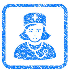 physician lady framed stamp vector image