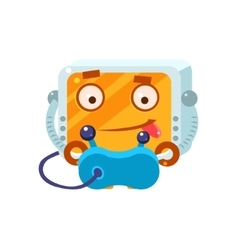 Playing Video Games Little Robot Character vector image