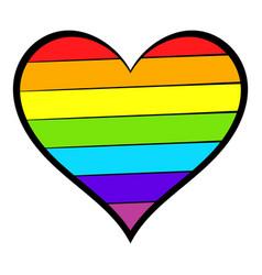 rainbow heart icon icon cartoon vector image vector image