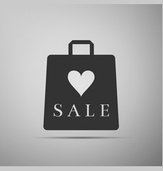 shopping bag shop love like heart icon with an vector image vector image