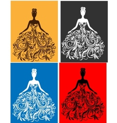 silhouette of young woman in a dress vector image vector image