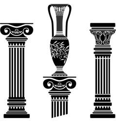 stencils of columns and hellenic jug vector image vector image
