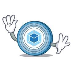 waving webpack coin character cartoon vector image vector image