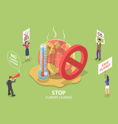 3d isometric flat concept stop climate vector