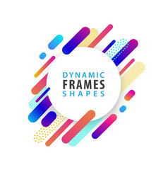 Abstract circle frames with dynamic shape template vector