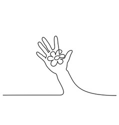 abstract hand holding flower continuous one line vector image