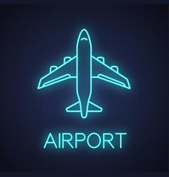 airplane neon light icon vector image