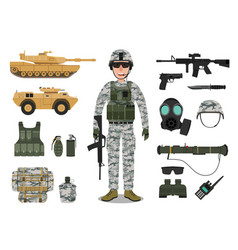 army soldier character with military vehicles vector image