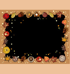 Autumn cute cozy chalkboard banner with trendy vector