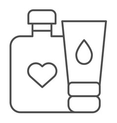 baby cream bottles thin line icon lotion and vector image