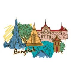 Bangkok doodles vector