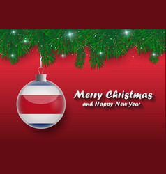 Border of christmas tree branches and ball with vector