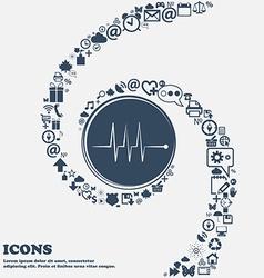 Cardiogram monitoring sign icon Heart beats symbol vector
