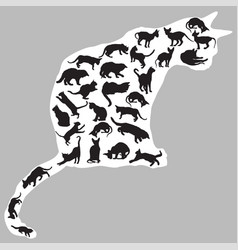 Cats silhouettes inside one cat vector