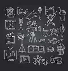 cinema doodle icons on black chalkboard vector image