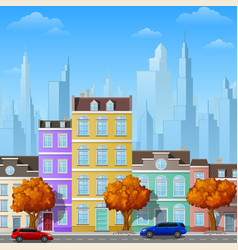 City street with urban buildings vector