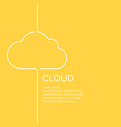 cloud in a linear style on a yellow vector image