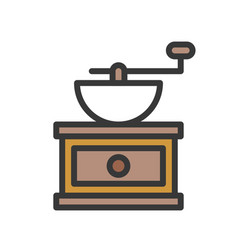 Coffee grinder coffee related filled style vector