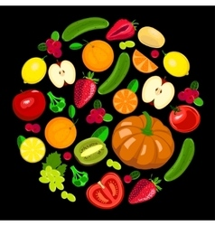 Collection harvest fruits and vegetables vector image