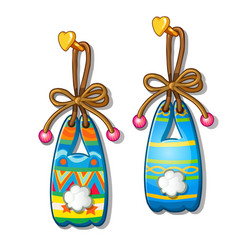 Colorful paper bunnies hanging on nail isolated vector