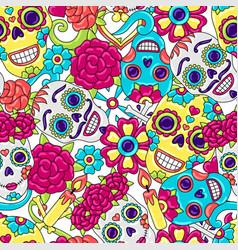 day dead seamless pattern sugar skulls vector image