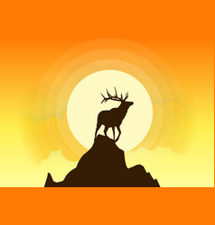 deer silhouette sunset vector image