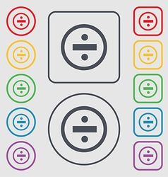 Dividing icon sign Symbols on the Round and square vector