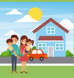 family standing in front of the house happy vector image