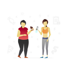 fat and thin women flat character design vector image