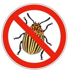 forbidden sign colorado potato beetle vector image
