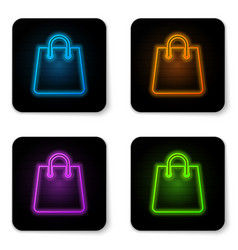 glowing neon handbag icon isolated on white vector image