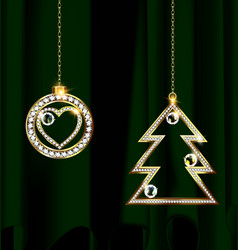 Green and jewel christmas decoration vector