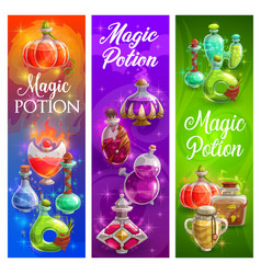 halloween posters with witch magic potions bottles vector image