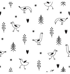 hand drawn birds on a white background vector image