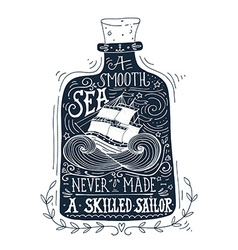 Hand drawn vintage label with a ship in a bottle vector