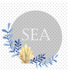 hand drawn watercolor sea card with water plant vector image