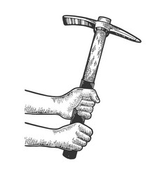 Hands with pick pickaxe sketch engraving vector